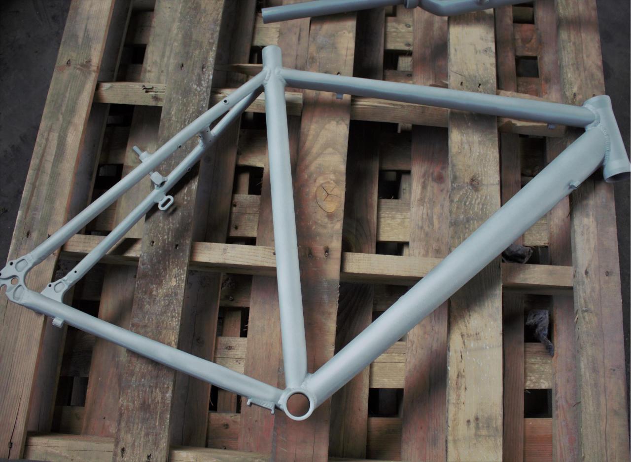 Sandstrahlen - Fahrradrahmen - nachher
